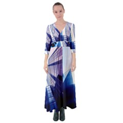 Abstract Architectural Design Architecture Building Button Up Maxi Dress