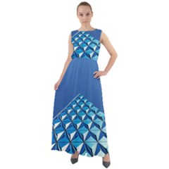 Art Building Pattern Abstract Chiffon Mesh Maxi Dress