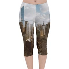 Architectural Design Architecture Buildings City Velvet Capri Leggings