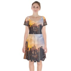 View Of High Rise Buildings During Day Time Short Sleeve Bardot Dress by Pakrebo