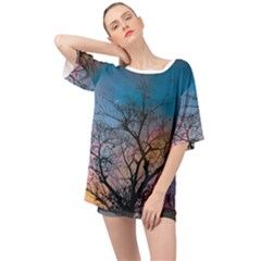 Low Angle Photography Of Bare Tree Oversized Chiffon Top