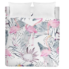 Tropical Flamingos Duvet Cover Double Side (queen Size) by Wmcs91