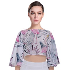 Tropical Flamingos Tie Back Butterfly Sleeve Chiffon Top