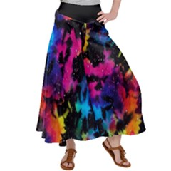 Tie Dye Rainbow Galaxy Satin Palazzo Pants by KirstenStar