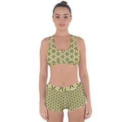 Green Star Pattern Racerback Boyleg Bikini Set