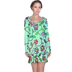 Flowers Floral Plants Long Sleeve Nightdress by Bajindul