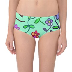 Flowers Floral Plants Mid Waist Bikini Bottoms by Bajindul