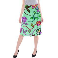 Flowers Floral Plants Midi Beach Skirt by Bajindul