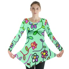 Flowers Floral Plants Long Sleeve Tunic
