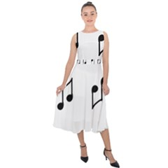 Piano Notes Music Midi Tie-back Chiffon Dress