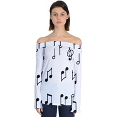 Piano Notes Music Off Shoulder Long Sleeve Top