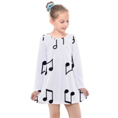 Piano Notes Music Kids  Long Sleeve Dress by HermanTelo