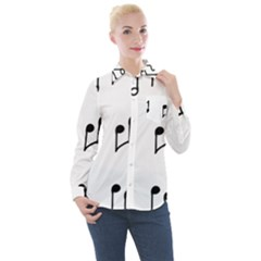 Piano Notes Music Women s Long Sleeve Pocket Shirt