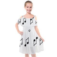 Piano Notes Music Kids  Cut Out Shoulders Chiffon Dress by HermanTelo