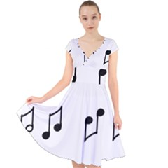 Piano Notes Music Cap Sleeve Front Wrap Midi Dress