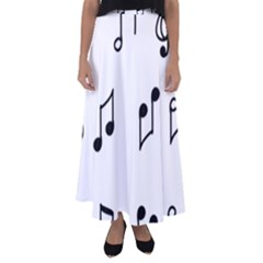 Piano Notes Music Flared Maxi Skirt