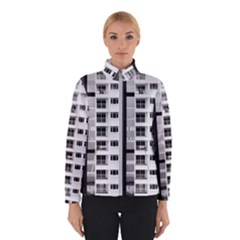 White And Black City Buildings Winter Jacket