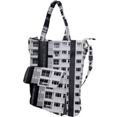 White And Black City Buildings Shoulder Tote Bag