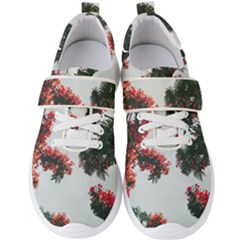 Red Petaled Flowers Men s Velcro Strap Shoes