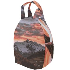 Scenic View Of Snow Capped Mountain Travel Backpacks