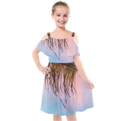 Two Green Palm Leaves On Low Angle Photo Kids  Cut Out Shoulders Chiffon Dress by Pakrebo