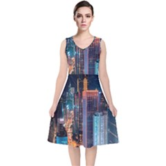High Rise Buildings With Lights V Neck Midi Sleeveless Dress