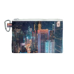 High Rise Buildings With Lights Canvas Cosmetic Bag (medium)