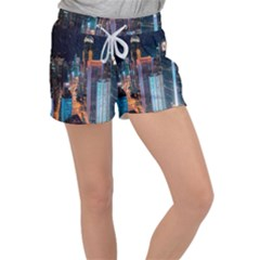 High Rise Buildings With Lights Women s Velour Lounge Shorts