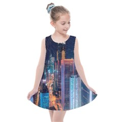 High Rise Buildings With Lights Kids  Summer Dress