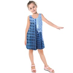 City Blue Building Construction Kids  Sleeveless Dress