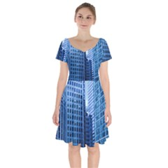 City Blue Building Construction Short Sleeve Bardot Dress