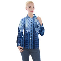 City Blue Building Construction Women s Long Sleeve Pocket Shirt