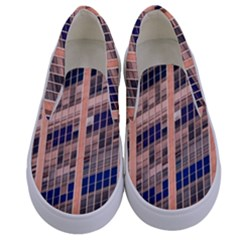 Low Angle Photography Of Beige And Blue Building Kids  Canvas Slip Ons