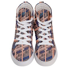 Low Angle Photography Of Beige And Blue Building Men s Hi Top Skate Sneakers