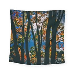 Silhouette Of Trees Square Tapestry (small) by Pakrebo