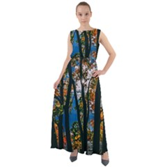 Silhouette Of Trees Chiffon Mesh Maxi Dress