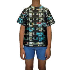 Architectural Design Architecture Building Cityscape Kids  Short Sleeve Swimwear