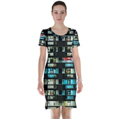 Architectural Design Architecture Building Cityscape Short Sleeve Nightdress