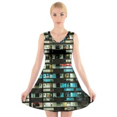 Architectural Design Architecture Building Cityscape V Neck Sleeveless Dress