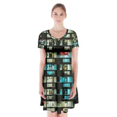 Architectural Design Architecture Building Cityscape Short Sleeve V Neck Flare Dress