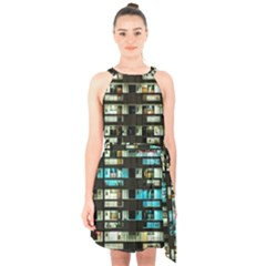 Architectural Design Architecture Building Cityscape Halter Collar Waist Tie Chiffon Dress