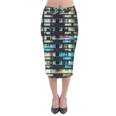 Architectural Design Architecture Building Cityscape Velvet Midi Pencil Skirt