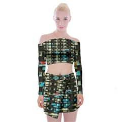 Architectural Design Architecture Building Cityscape Off Shoulder Top With Mini Skirt Set