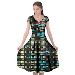 Architectural Design Architecture Building Cityscape Cap Sleeve Wrap Front Dress