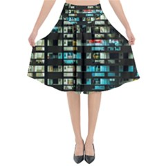 Architectural Design Architecture Building Cityscape Flared Midi Skirt