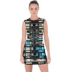 Architectural Design Architecture Building Cityscape Lace Up Front Bodycon Dress