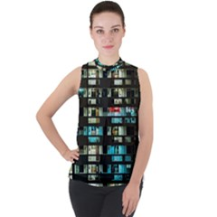 Architectural Design Architecture Building Cityscape Mock Neck Chiffon Sleeveless Top