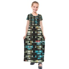 Architectural Design Architecture Building Cityscape Kids  Short Sleeve Maxi Dress