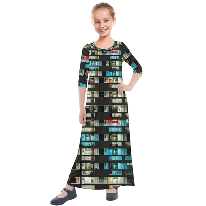 Architectural Design Architecture Building Cityscape Kids  Quarter Sleeve Maxi Dress