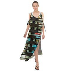 Architectural Design Architecture Building Cityscape Maxi Chiffon Cover Up Dress